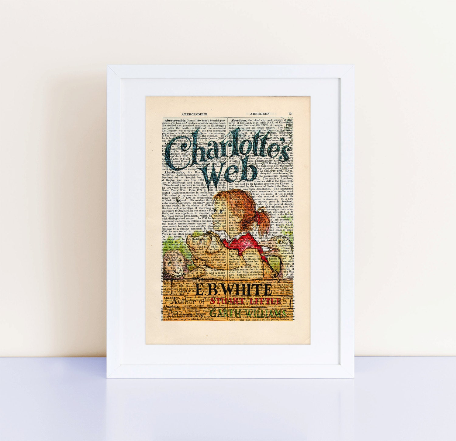 Printable Charlotte S Web Book Cover : Charlotte s web by eb white print on an antique page book