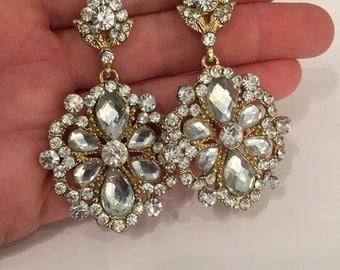 Crystal Jewelled Bridal Wedding Prom Statement Earrings