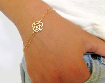 Gold Rose Bracelet, Best Friends Bracelet, Gold Bracelet, Gold Rose Connector, Christmas Gift, Everyday jewelry, Valentine's Day Gift