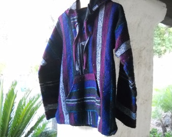 Mexican Surfer Hoodie in gorgeous shades of deep sea blue and purple
