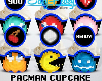 Pacman Cupcake Wrappers & Toppers