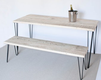 Items similar to Modern dining table with reclaimed wood top and Hairpin legs. 60\u0026quot; L x 30\u0026quot;W x 30