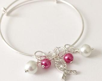 Silver Awareness Ribbon Bracelet/Breast Cancer Awareness Bracelet/Awareness Ribbon Bracelet