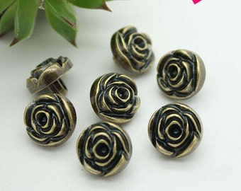6 Pcs Bronze Carved Rose Shirt Button -Metal Button With Shank For Dress,11.5mm(0.45inch),I68