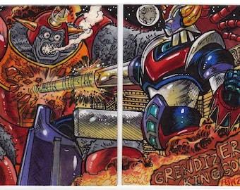 Grendizer vs King Gori Personal Sketch Card Puzzle Unique Artwork Original Kaiju Creation Beasts