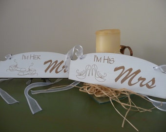 His and Hers Signs, Mr and Mrs Wedding Chair Signs, Shabby Chic Sign, Wooden Sign, Wedding Decor, Photo Prop