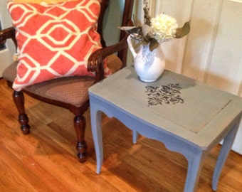Painted side table french kindel furniture gray accent french country