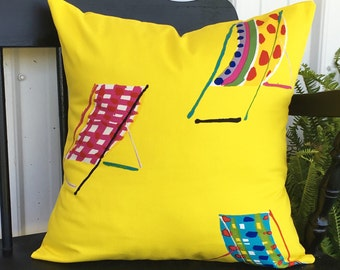 18x18 Yellow pillow cover indoor outdoor poolside yellow pillows
