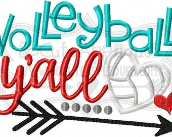 Embroidery design 5x7 6x10 Volleyball yall applique, socuteappliques, embroidery sayings, volleyball sister applique embroidery