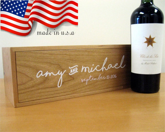 Wine Box - Wedding Wine Box - Wooden Box - Wedding Gift - Made In USA ...