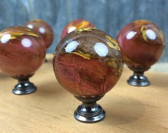 Swirled Orange/Gold/Brown Glass/Stone Cabinet Knob/Drawer Pull