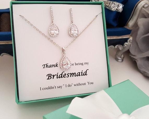 Wedding Gift Drop Box : Tear drop Set with blue gift box, Wedding bridal Jewelry, CZ ...