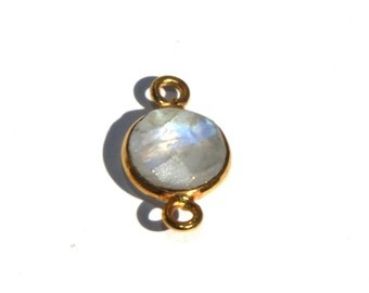 6 Pcs 8mm Gold Plated Natural Rainbow Moonstone Bezel Set Faceted Round Connector, Gemstone Connector, Double Loop Pendant Charm RM03