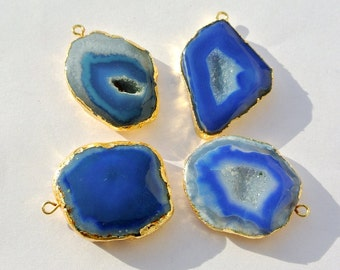 4 Pcs 25-30mm 24k Gold Electroplated Edge Blue Druzy Agate Geode Slice Pendant Blue Druzy Single Loop Charm Pendant SKU4075