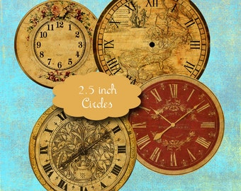 10 Vintage Clock Face Circles
