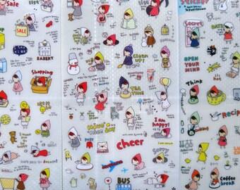 Funny Little Girl Friend Planner Sticker Set 6 Sheets
