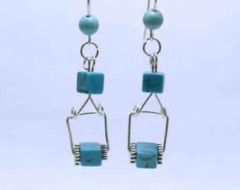Handmade Turquoise & Silver Drop Earrings