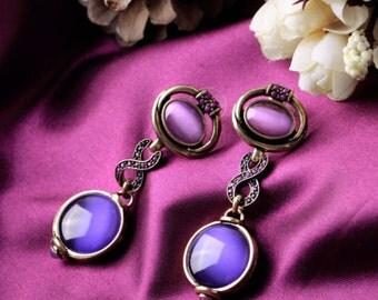 Vintage Gold Plated Fuchsia Opal Oval Bubble Beads Drop Earrings