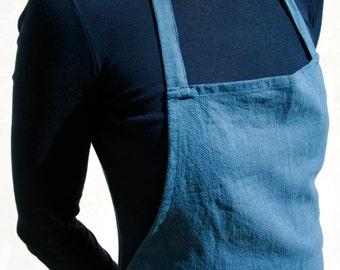 Apron linen washed blue