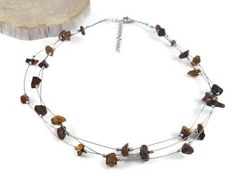 Birthstone silver jewelry, tiger eye necklace, healing crystals and stones necklace, natural crystal jewelry july birthstone necklace trysna