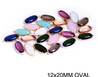 DIY Jewelry Findings, Semi Precious stone findings, Oval connector charms, Semi precious stone pendants, 12x20mm Oval stone charms