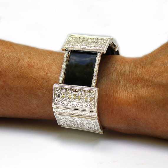 Silver Band Bracelet: FitBit Charge 2 Band Cover Bracelet: Bright Silver Lallybroch