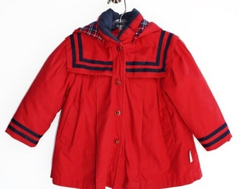 Baby Girl Coat, Red, 1960's Jacket, London Fog, Children's Clothing, Size 12 Months
