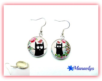 Earrings cats and roses, glass cabochons