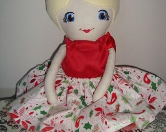 fabric doll, rag doll, cloth doll, Christmas doll