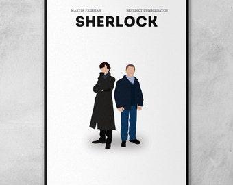 Sherlock | Benedict Cumberbatch | Martin Freeman | Minimal Artwork Poster