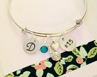 Volleyball Bracelet, Volleyball Bangle Bracelet, Personalized Softball Bracelet, Volleyball Player Gift, Custom Volleyball Bracelet