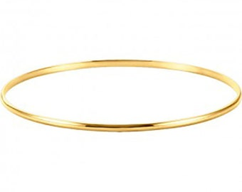 Solid Bangle Bracelet 14k Yellow Gold - 14k Yellow Gold  8 inch Bangle