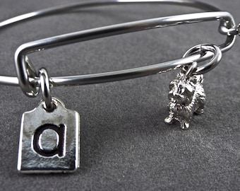 Pewter Scotty bangle, Scotty stainless steel bangle, Scotty bracelet, Initial Charm, 3D Scotty charm, Scotty dog charm easy on off