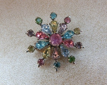 Vintage Star Multi-Coloured Rhinestone Brooch Pin