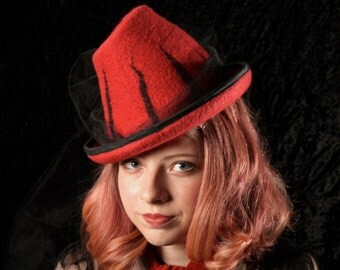 Victorian Perch Witch Hat in Red With Black Stripes - Short Witch Hat - Red Witch Hat - Victorian Perch - Striped Hat - Witch Hat