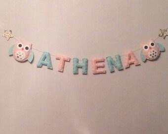 Name Sign  - Name Plaque - Mini Bunting -Personalised Bunting - Sleepy Owls - Kids Room Decor - Nursery Decor