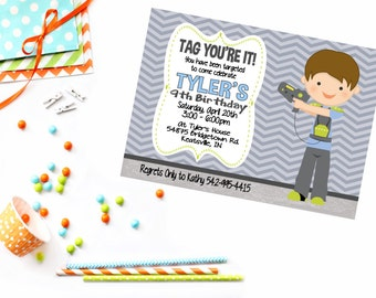 Boys Laser Tag Invite - Laser Tag Birthday Invitations - Laser Tag Party - Boys Birthday Invitations - Laser Tag Invitations