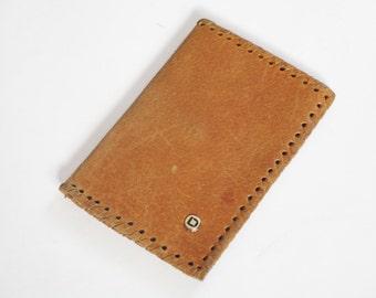 Vintage Leather Money Purse, Small Retro Brown Change Purse, Vintage Leather Portfolio, Folding Billfold