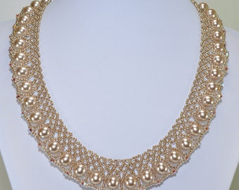 Pearl and Swarovski crystal netted/lace necklace for wedding, prom or formal wear. Queen Elizabeth