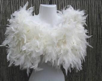 Ivory/Bridal White Ruffled Feather Shrug / Stole / Shrug - One Size