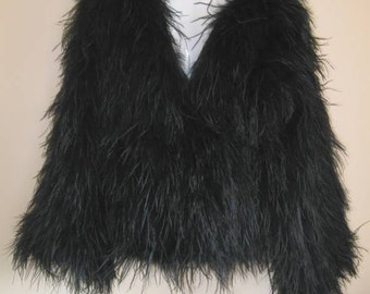 Black Ostrich Feather Jacket - SALE ITEM - REDUCED