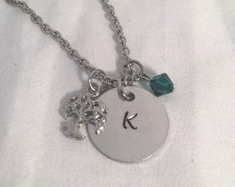 Family tree necklace, Personalized handstamped necklace, hand stamped necklace, swarovski crystal necklace, initial necklace