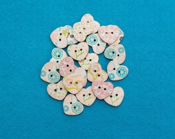 Floral Pastel Heart Buttons