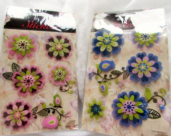 3D Flower Stickers Pink or Blue