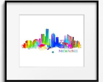 Milwaukee Skyline Watercolor Art Print (035)