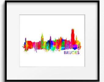 Bruges Skyline Watercolor Art Print (312) Cityscape Belgium