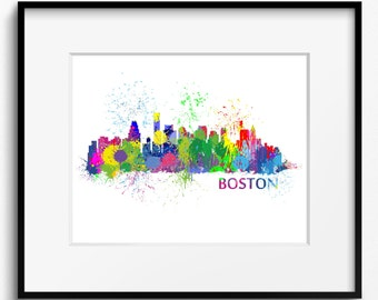 Boston Skyline Watercolor Splash Art Print (506) Cityscape Massachusetts USA