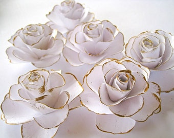 Set of 6 White Paper Roses, White Paper Flowers, Gold Stem Flowers, Spring Summer Wedding Decoration, Paper Wedding Decor, Table Centerpiece