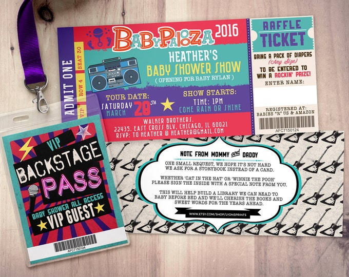 ROCK STAR concert ticket baby shower invitation-Coed baby shower invitation- Rock baby shower invitation- couples baby shower - lollapalooza