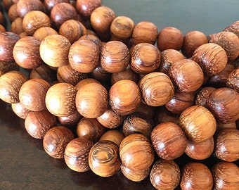 Bayong Wood Beads, Wooden Beads, Handcrafted Wooden Beads, Smooth Round Bayong Beads, Natural Wood Beads, 9mm to 10mm - 40 beads (W10-02)